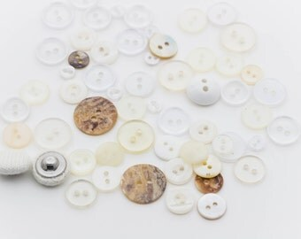 Plastic Buttons, Fabric Buttons, 2 hole, Beige, White, Clear - FREE WITH 20.00 PURCHASE