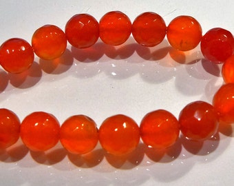 Red Agate Faceted Round Gemstone Beads....10mm....6 Beads