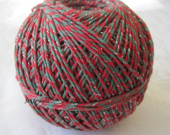 25 Yards Cotton Twine, Baker's Twine, Red String, Christmas Gift Wrap, Holiday Gift Wrapping, Green Twine, Red Twine, On Wood Spool