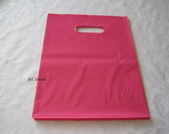 50 Pink Plastic Bags, Hot Pink Bags, Gift Bags, Party Favor Bags, Shopping Bags, Glossy Bags, Bags with Handles, Merchandise Bags 9x12