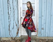 Velvet Patchwork Bohemian Gypsy Coat// Peplum Swing Coat// Small Medium Large XL 1X 2X Plus Sizes//Multi Colored// Made to Order//emmevielle