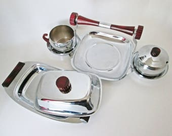Glo Hill Art Deco Red Bakelite and Chrome Set, Buffet Serving Dish with cream and sugar bowl w lid Gourmates Butter Dish Mid Century Decor
