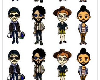Planner Stickers Planner Dude Men Guys Man Stickers Hipster Cool Young