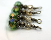 Green AB Multifaceted Crystal and Gold Czech Bead Earring Dangle Necklace Charm Drop Set
