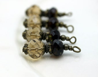 Vintage Style Light Brown and Amber Green Czech Bead Dangle Charm Drop Pendant Set, Dangles, Pendant, Earring Dangles