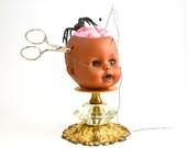Creepy Doll Head Pincushion Ooak