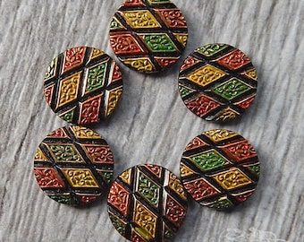 Vintage Glass Cabochons - 18mm Round - Red Gold Green and Black Geometric Pattern, Argyle Diamond Shapes (4 pc)