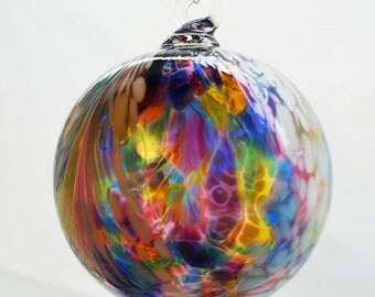 Mosaic Peacock Angel Feather Blown Glass Ornament 3.5 inches FREE SHIPPING