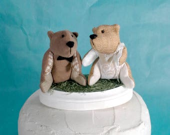 Bear wedding cake topper, woodland wedding animal toppers E150, miniature stuffed animal toppers