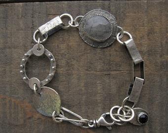 Rutilated quartz and black onyx bracelet, black and white bracelet by teresamatheson