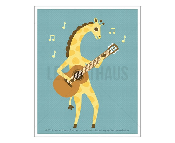 121A Giraffe Print - Bright Giraffe Playing Guitar Wall Art - Safari Nursery Decor - Modern Animal Art - Giraffe Drawing - Funny Giraffe Art
