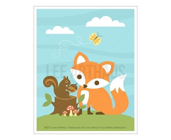 53A Fox Nursery Print - Fox and Squirrel Wall Art - Woodland Nursery Art - Fox Wall Art - Fox Art Print - Fox Decor - Baby Fox Nursery Decor