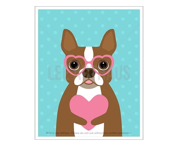 289D Boston Terrier Print - Brown Boston Terrier Holding Pink Heart Wall Art - Valentine Gift - Dog Wearing Glasses - Boston Terrier Gift