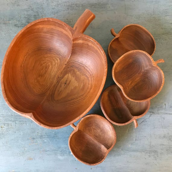 vintage wooden salad bowl set - apple shaped bowls - brown dining serving dishes