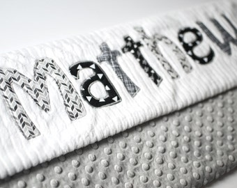 Monogrammed Baby Blanket in MONOCHROME, Grey Dot Minky and White Chenille, Personalized with Your Baby Boy's First Name in Grays and Blacks