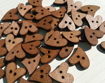 "Wood Heart Buttons - Dark Wooden Sewing Hearts Buttons - 7/8"" Wide"