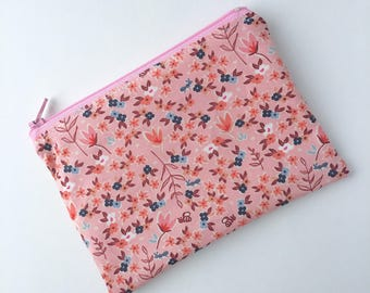 Zippered Snack Bag - Kids Snack Bag - Lunch Pouch - Snack Sack - Lunch Bag - Pink Flowers