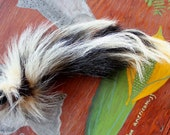 Skunk tail - Real eco-friendly striped skunk fur totem dance tail NO AROMA on carabiner keychain purse charm for shamanic dance SK03