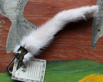 Mink tail - real eco-friendly natural gray mink fur totem dance tail on extra strong carabiner keychain MK06