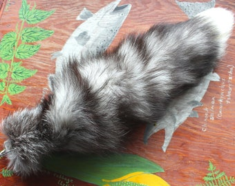Fox tail - real LONG eco-friendly Tundra fox fur totem tail on extra strong carabiner keychain for shamanic ritual and dance TU04