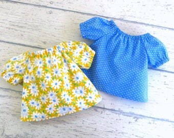 Two Peasant Tops for 18 inch Dolls, Yellow Daisy Top AND Blue Polkadot Shirt