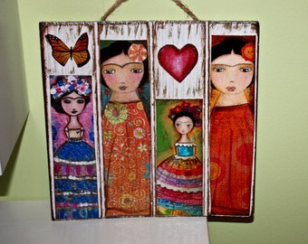 Frida -  Giclee prints mounted on Wooden Plaque (8 x 8 inches) Folk Art  by FLOR LARIOS