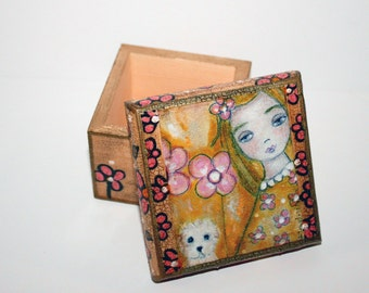 Girl with Dog -  Original Mixed Media Handmade Jewelry Box Folk Art by FLOR LARIOS
