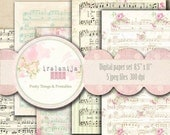 "SALE MUSIC SHEET  8.5"" x 11"" backgrounds Collage Digital Images -printable download file-"