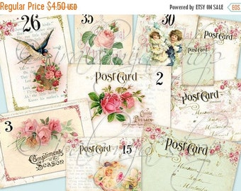 SALE ANTIQUE CARDS collage Digital Images  -printable download file-