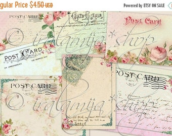 SALE HEART POST CARdS Collage Digital Images -printable download file-