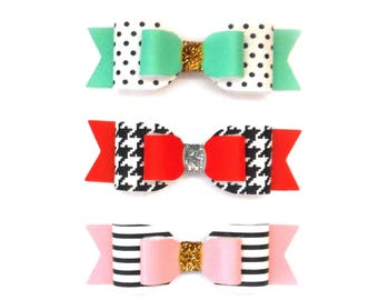 Faux Leather Bows | pink and stripes bow | red and houndstooth | teal and polka dot