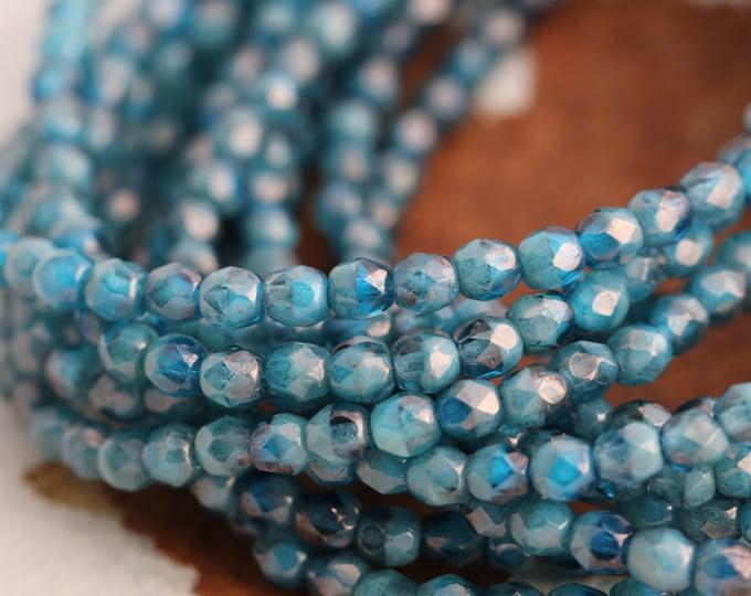 CAPRI OCEAN TOTS .. 50 Premium Picasso Faceted Czech Glass Beads 4mm (5507-st)