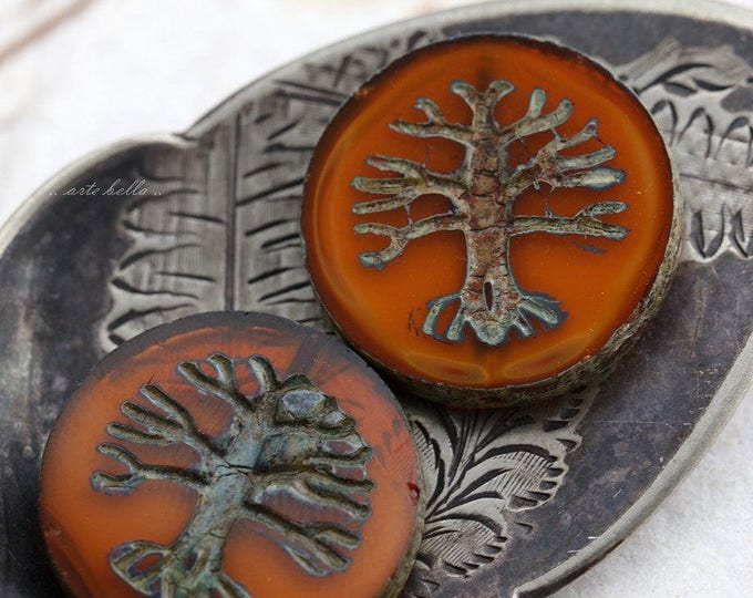 TREE OF LIFE No. 5687 .. 1 Premium Picasso Czech Glass Bead 22mm (5687-1)