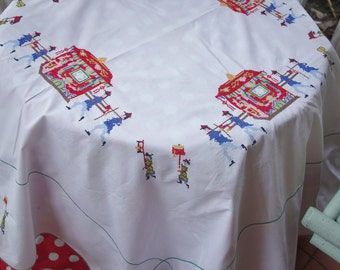 vintage embroidered oriental tablecloth 50x52 inches