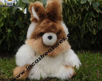 "100% Baby Alpaca, Cute White Rabbit ""SPOUNGE"" FREE SHIPPING"