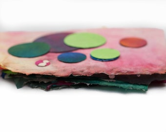 Colorful Painted Handmade Small Paper Scraps Batik Assortment Pack Paper Circles Deckled Edge DIY Paper Supplies Abstract Design