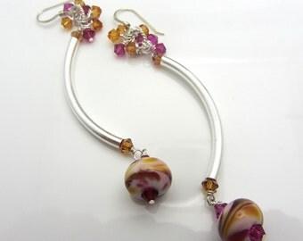Lampwork Earrings Fuchsia Amber Swirl Earrings Glass Bead Earrings Dangle Drop Earrings Sterling Silver SRAJD USA Handmade