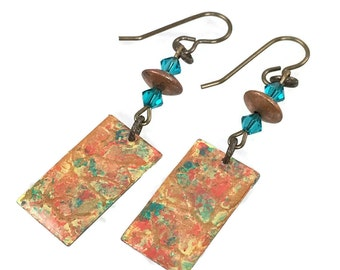 Rusty orange, copper and bright turquoise blue painted earrings