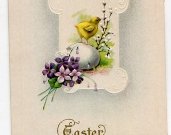 Easter Greetings postcard of Chick on egg shell  vintage postcard, SharonFosterVintage