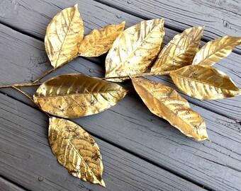 Silk Magnolia Leaves - Gold Magnolia Leaves - Magnolia Leaf Spray - Artificial Leaves - Wreath Floral Spray - Silk Flowers