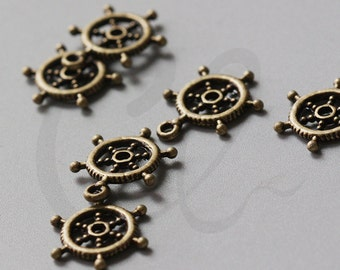 30pcs Antique Brass Tone Base Metal Charms-Boat Wheel 20x15mm (997Y-F-170B)