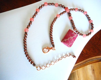 Country Sunset ... dyed magnesite, pink grapefruit chalcedony, chocolate glass pearls ... #755