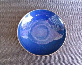 "Leon Statham enamel bowl, Modern 4"" Royal Blue and Golden-Copper Shallow-Bowl c1950"