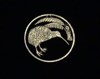 New Zealand - cut coin pendant -  Kiwi, world's 5th weirdest bird - 1978