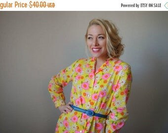 25% OFF SALE NOS~1960s Vibrant Floral Day Dress~Size Extra Small to Small
