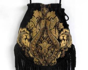 Fringe Tapestry Gypsy Bag Black and Cream Cross Body Bag Bohemian  Hippie Bag Festival Bag Renaissance bag Shoulder Bag Hand Bag