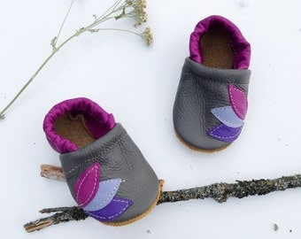 Purple Leaves Soft Soled Leather Shoes Baby and Toddler
