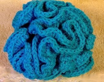 Bath Puff, Shower Loofah/Bath Pouf ,Jumbo ,100 Percent Cotton, Crochet, London Ontario Canada,Hot Blue bath Pouf