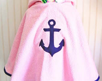 Girls Swimwear. Swimsuit Cover Up. Beach Cover up. Beach Poncho. Anchor Beach Cover up. Toddler Cover up. Terry Cover Up