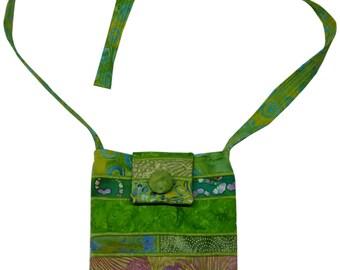 Small Batik Purse in Bright Green with Adjustable Straps